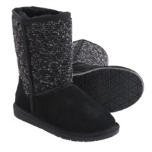 Minnetonka Forsyth Boots  - Sheepskin Lined (For Women) in Black - Closeouts