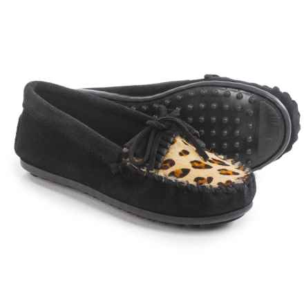 Minnetonka Leopard Kilty Moccasins - Suede (For Little and Big Girls) in Black - Closeouts