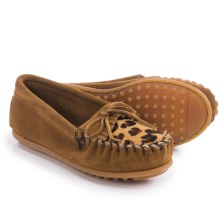 Minnetonka Leopard Kilty Moccasins - Suede (For Little and Big Girls) in Dusty Brown - Closeouts