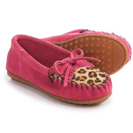 Minnetonka Leopard Kilty Moccasins - Suede (For Little and Big Girls) in Hot Pink - Closeouts