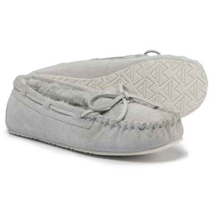 Minnetonka Moccasin Allie Junior Trapper Slippers (For Women) in Silver Grey - Closeouts