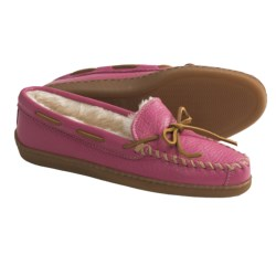 Minnetonka Moccasin Boat Moc Shoes - Leather, Faux-Fur Lined (For Women and Youth Girls) in Off White