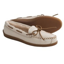 Minnetonka Moccasin Boat Moc Shoes - Leather, Faux-Fur Lined (For Women and Youth Girls) in Off White - Closeouts