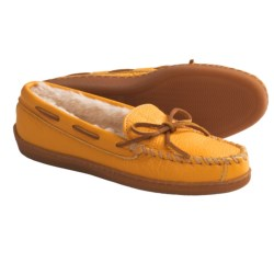 Minnetonka Moccasin Boat Moc Shoes - Leather, Faux-Fur Lined (For Women and Youth Girls) in Yellow