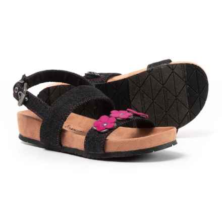 Minnetonka Moccasin Harmony Sandals (For Girls) in Black Denim - Closeouts