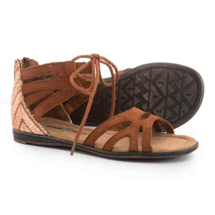 Minnetonka Moccasin Meri Sandals (For Girls) in Brown Suede W/Kasbah - Closeouts