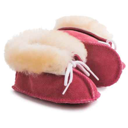 Minnetonka Moccasin Sheepskin Booties - Suede (For Infants) in Light Pink - Closeouts