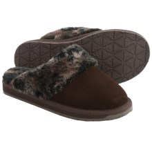 Minnetonka Selma II Scuff Slippers (For Women) in Chocolate W/ Marble Print Lining - Closeouts
