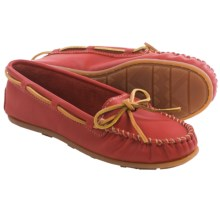 Minnetonka Smooth Leather Moccasins - Slip-Ons (For Women) in Red - Closeouts
