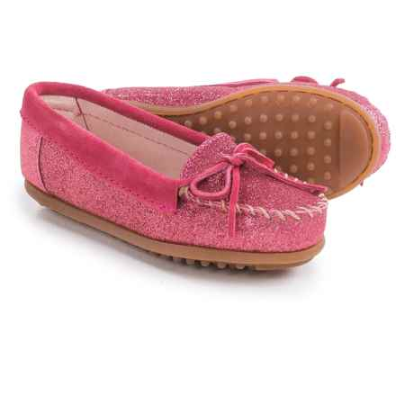 Minnetonka Solid Glitter Moc Shoes (For Little and Big Girls) in Hot Pink - Closeouts