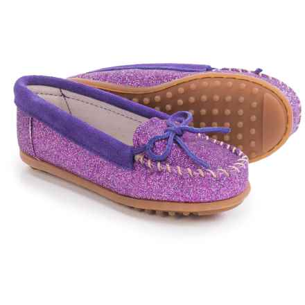 Minnetonka Solid Glitter Moc Shoes (For Little and Big Girls) in Purple - Closeouts