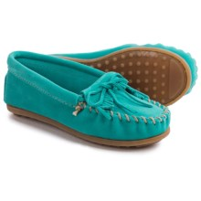 Minnetonka Solid Kilty Moc Shoes - Suede (For Little and Big Kids) in Turquoise - Closeouts