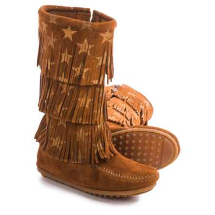 Minnetonka Star Boots (For Little and Big Girls) in Brown - Closeouts