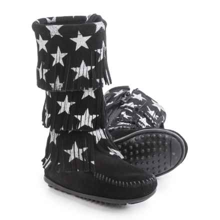 Minnetonka Star Boots - Suede (For Toddlers) in Black - Closeouts