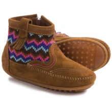 Minnetonka Sweater Boots - Suede (For Little and Big Girls) in Dusty Brown - Closeouts