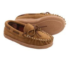 Minnetonka Theo Trapper Moccasins (For Boys) in Cinnamon W/ Orange Brown Plaid Lining - Closeouts