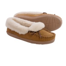 Minnetonka Tracy Folded Trapper Slippers (For Women) in Cinnamon - Closeouts