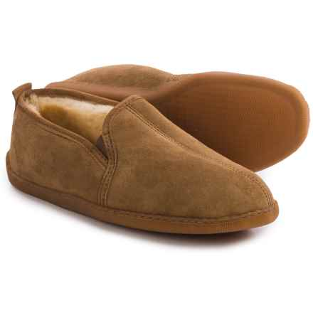 Minnetonka Twin Gore Sheepskin Slippers - Suede (For Men) in Golden Tan - Closeouts