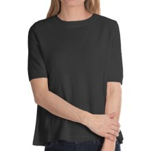 Minnie Rose Button Back Sweater - Cashmere, Short Sleeve (For Women) in Black - Closeouts