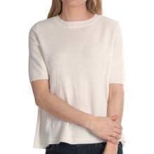 Minnie Rose Button Back Sweater - Cashmere, Short Sleeve (For Women) in White - Closeouts