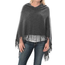 Minnie Rose Cashmere Fringed Ruana Poncho (For Women) in Charcoal Heather Grey - Closeouts