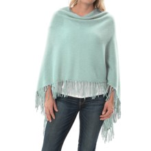 Minnie Rose Cashmere Fringed Ruana Poncho (For Women) in Fountain Bleau - Closeouts