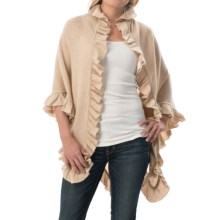 Minnie Rose Cashmere Ruffle Shawl (For Women) in Doeskin - Closeouts