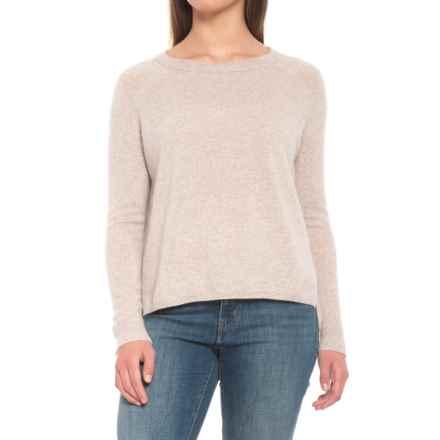 Minnie Rose Ecru Raglan Hi-Lo Cashmere Sweater (For Women) in Ecru - Closeouts