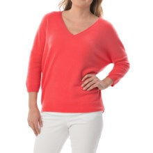 Minnie Rose Everyday Cashmere Sweater - Elbow Sleeve (For Women) in Red Coral - Closeouts
