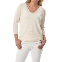Minnie Rose Everyday Cashmere Sweater - Elbow Sleeve (For Women) in White - Closeouts
