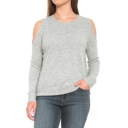 d336e6707c Minnie Rose Light Heather Grey Cold-Shoulder Cashmere Sweater (For Women)  in Light