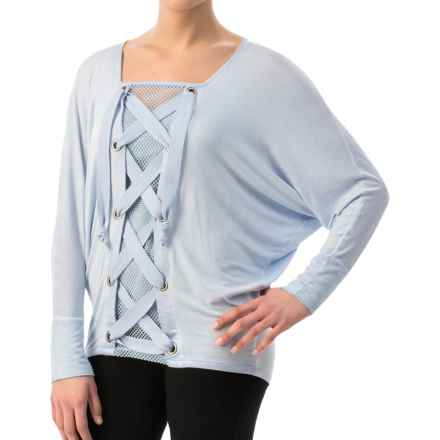 Miraclebody by Miraclesuit Lydia Lace-Up Shirt - 3/4 Sleeve (For Women) in Glacier Blue - Closeouts