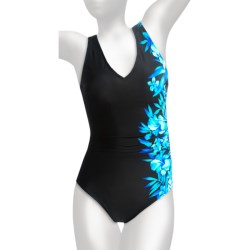 Miraclesuit Blockbuster Swimsuit - 1-Piece (For Women) in Blue Aloha