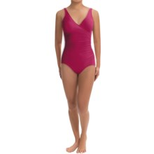 Miraclesuit Solid Shirred Wrap Swimsuit (For Women) in Berry - Closeouts