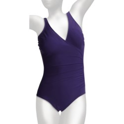 Miraclesuit Solid Shirred Wrap Swimsuit (For Women) in Harbor Blue