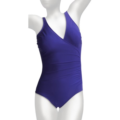 Miraclesuit Solid Shirred Wrap Swimsuit (For Women) in Surf