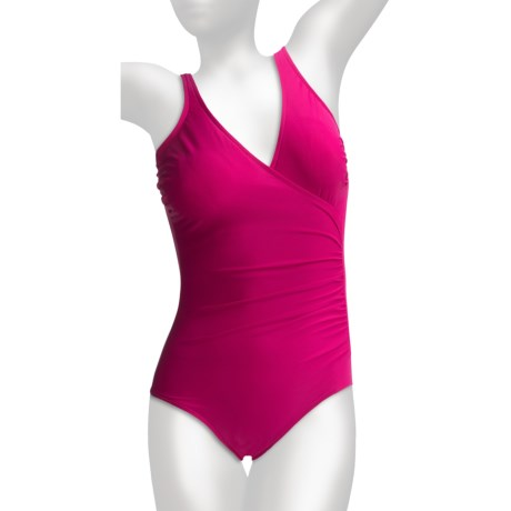 Miraclesuit Solid Shirred Wrap Swimsuit (For Women) in Raspberry