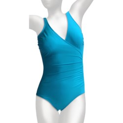 Miraclesuit Solid Shirred Wrap Swimsuit (For Women) in Berry