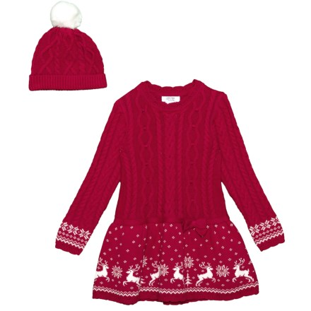 f21ef679fe236 Miss Mona Mouse Cable-Knit Sweater Dress and Beanie Set - Long Sleeve (For