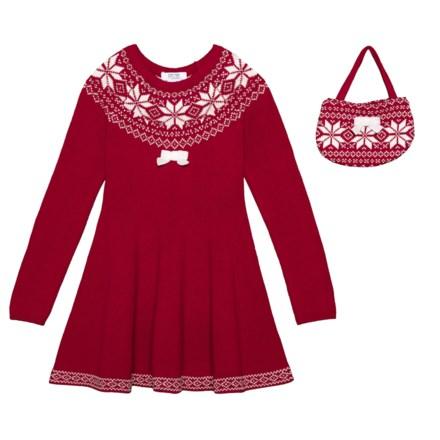 4712dee819a1 Miss Mona Mouse Jacquard Yoke Horizontal Knit Dress (For Little Girls) in  Crimson -