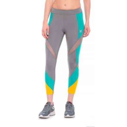Mission Aerial Crop Leggings (For Women) in Quiet Shade/ Viridian Green/Gold Fusion - Closeouts