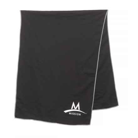 Mission EnduraCool® TechKnit Cooling Towel - UPF 50, Large in Black - Closeouts