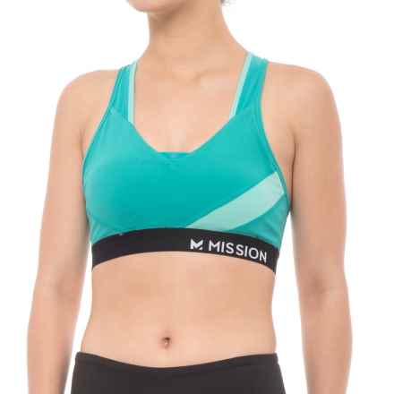 Mission Temper Sports Bra - Medium Impact, Racerback (For Women) in Viridian Green/Pool Blue - Closeouts