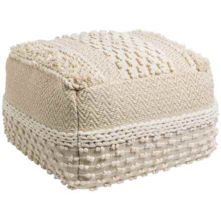 "Mittal International Natural Gold Woven Textured Pouf - 22x14"" in Natural - Closeouts"