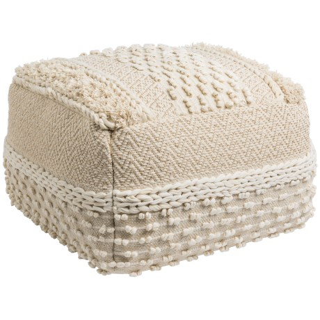 """Mittal International Natural Gold Woven Textured Pouf - 22x14"""" in Natural"""