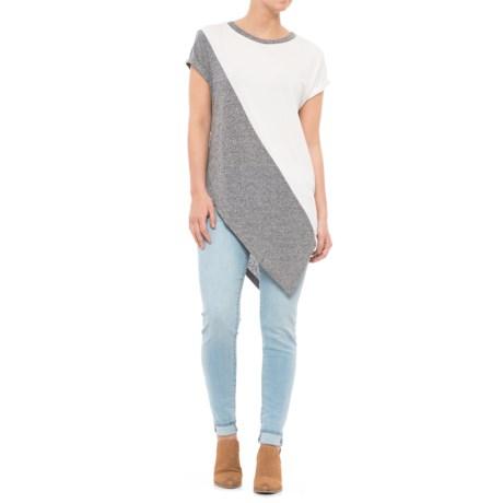 Mixed Media Color-Block T-Shirt - Short Sleeve (For Women)