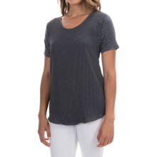 Mixed-Media Georgette Shirt - Short Sleeve (For Women) in Navy/White - 2nds