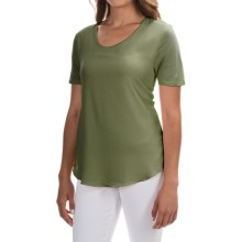 Mixed-Media Georgette Shirt - Short Sleeve (For Women) in Olive - 2nds