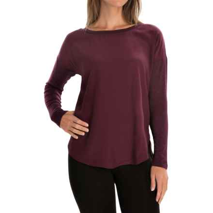 Mixed Media Rayon Shirt - Long Sleeve (For Women) in Plum - 2nds