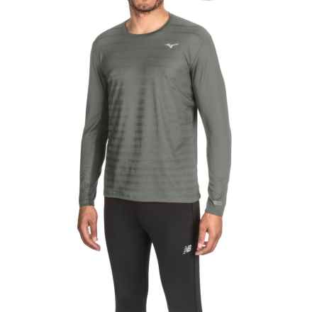 Mizuno Body Map Running Shirt - Long Sleeve (For Men) in Dark Shadow - Closeouts